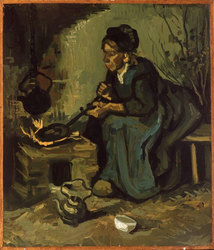 Paysanne cuisinant près d'une cheminée de Vincent Van Gogh