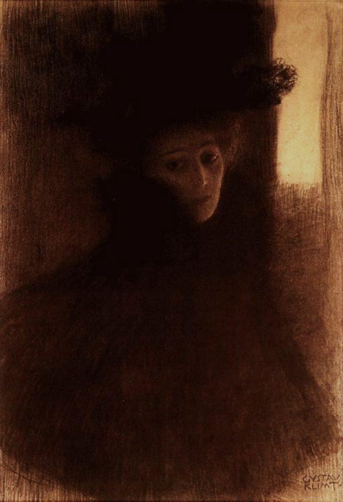 Dame avec cape et chapeau de Gustav Klimt
