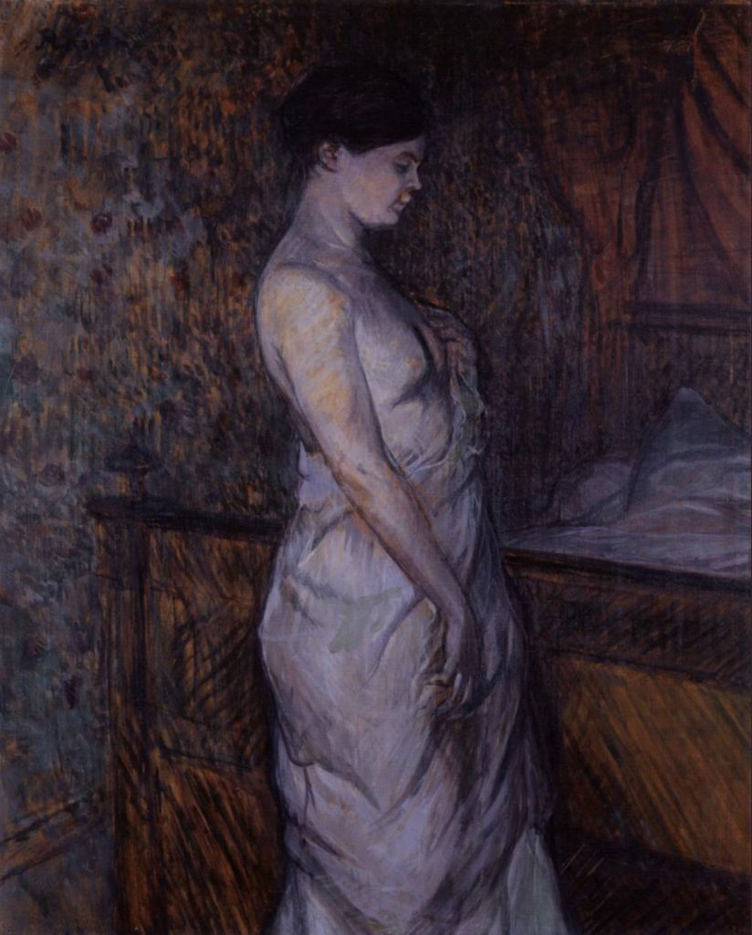Femme en chemise debout près d'un lit, Madame Poupoule d'Henri de Toulouse-Lautrec
