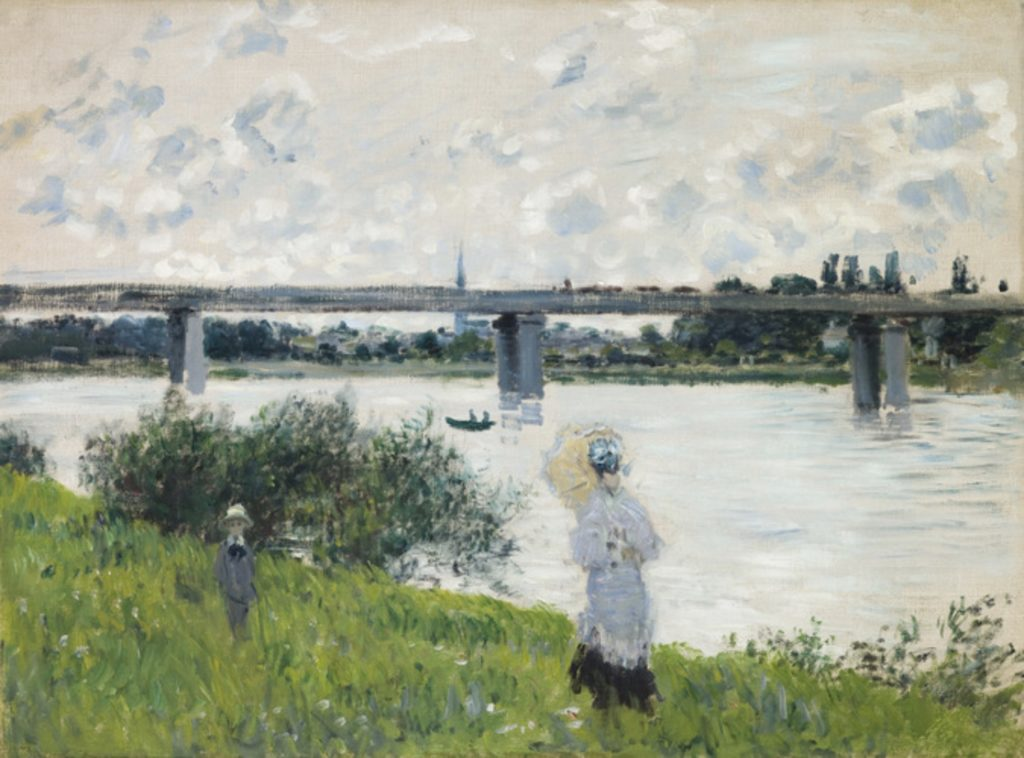 Promenade près du pont de chemin de fer, Argenteuil  par Claude Monet