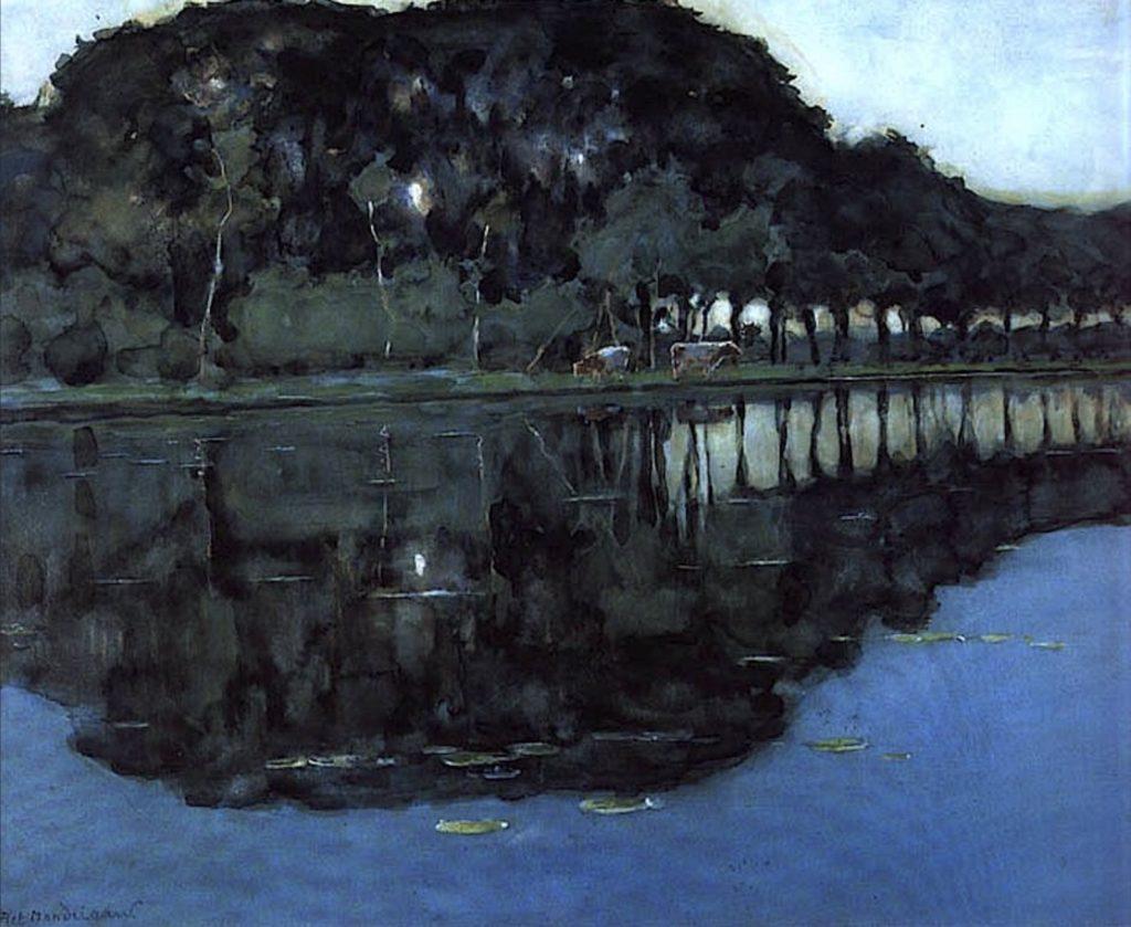 Ferme près de Duivendrecht, le soir par Piet Mondrian