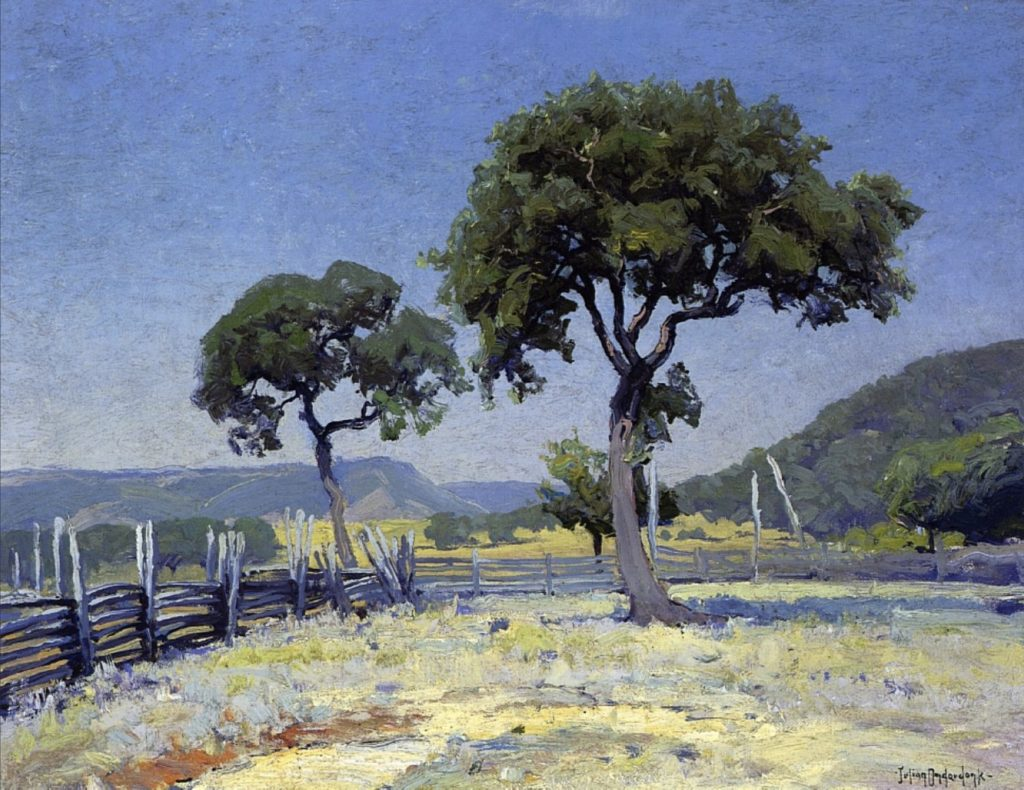 Chênes sur Williams' Ranch, comté de Bandera de Julian Onderdonk