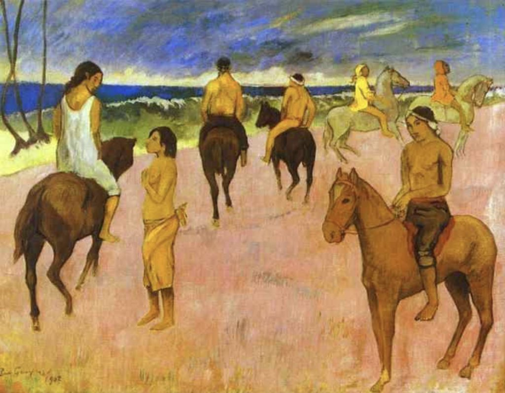 Cavaliers sur la plage de Paul Gauguin