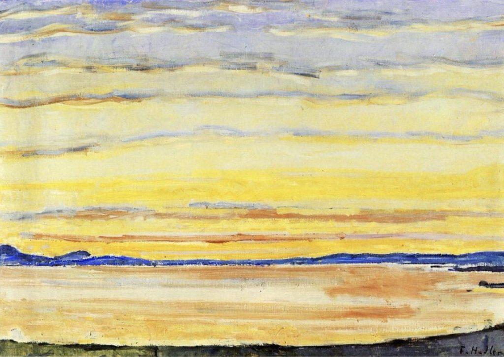 Coucher de soleil sur le lac Léman de Ferdinand Hodler