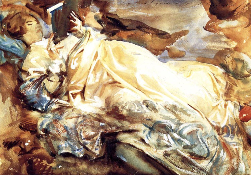 Femme lisant dans un châle en cachemire par John Singer Sargent