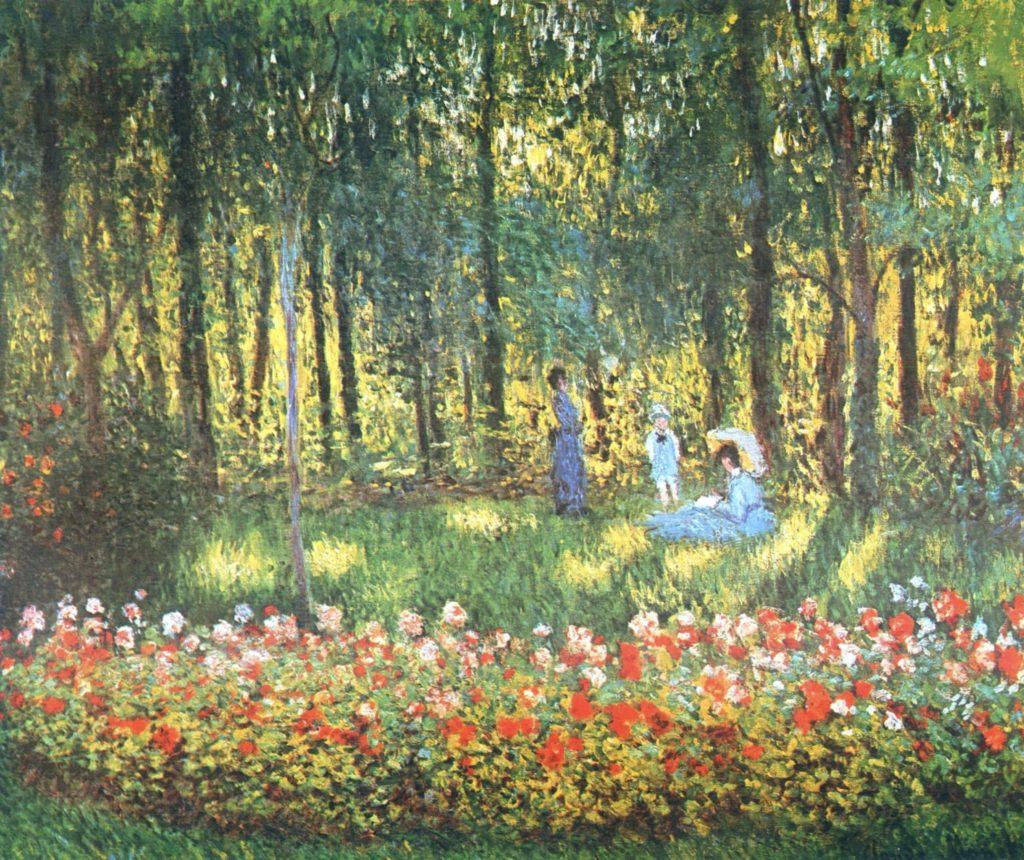 La famille de l'artiste dans le jardin de Claude monet