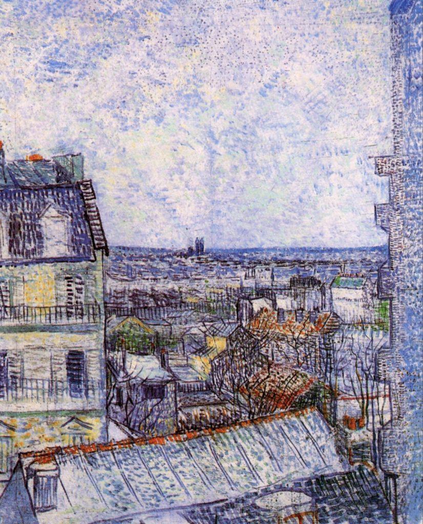 Vue depuis la fenêtre de la chambre de l'artiste, rue Lepic de Vincent Van Gogh