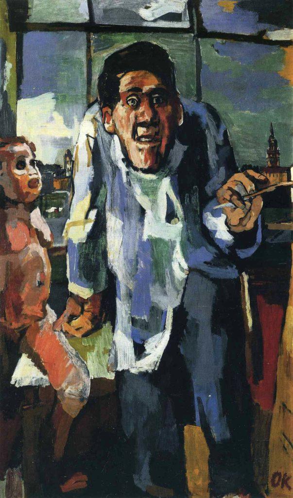 L'artiste à Easel par Oskar Kokoschka