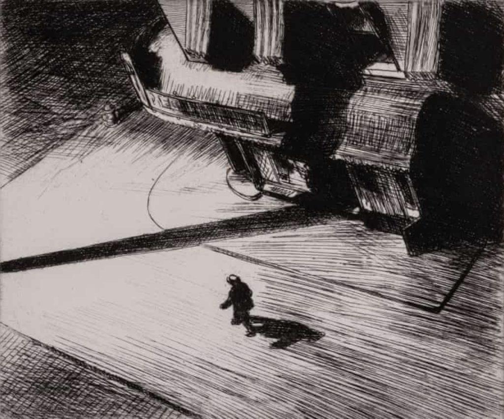 Ombres nocturnes, dessin d'Edward Hopper