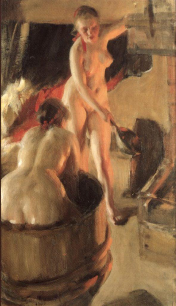 Femmes se baignant dans le sauna par Anders Zorn