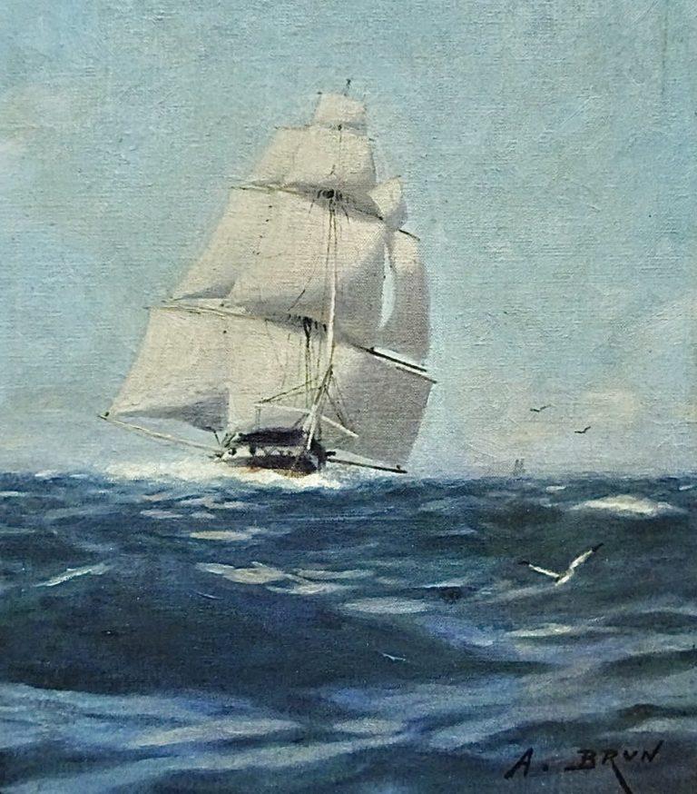Frégate par vent arrière par Alexandre Brun